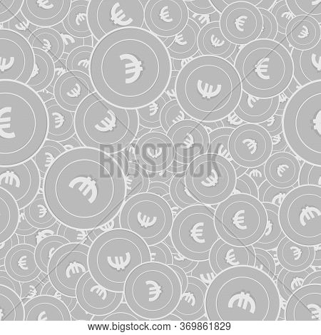 European Union Euro Silver Coins Seamless Pattern. Optimal Scattered Black And White Eur Coins. Succ