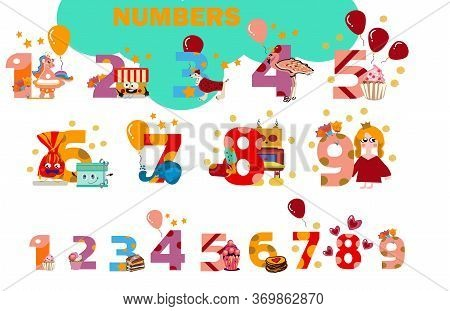 Birthday Anniversary Numbers With Cute Characters Birthday Party Invitation Card Template