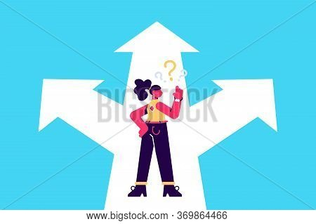 Choice Way Concept. Decision Business Metaphor. Vector Flat Style Design. Isolated On Background. Bu