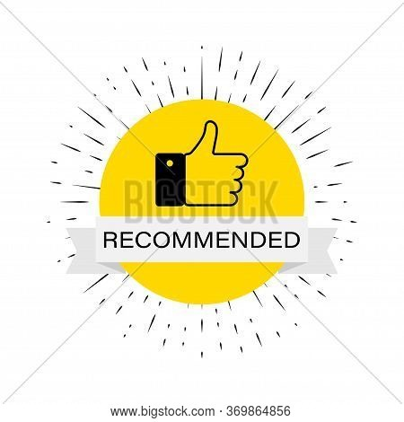 Recommended Banner With Hand Like Icon In Flat. Vector