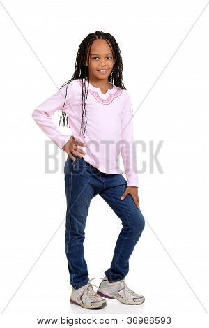 Young african child with pink shirt