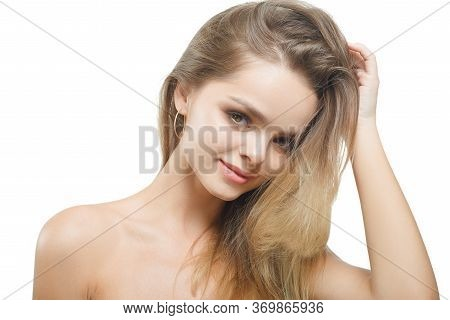Portrait Of Young Attractive Woman With Closed Eyes Over White Background.