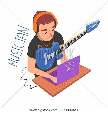 Male Musician Guitarist Player, Creative Hobby Or Profession Cartoon Style Vector Illustration On Wh