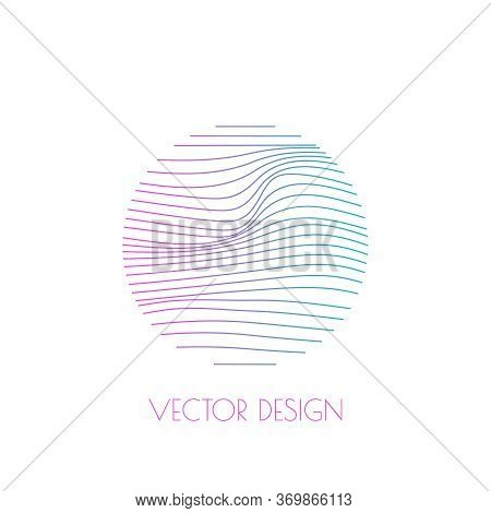 Round Modern Logo With Organic Shapes With Dynamic Waves And Lines. Vector Gradient Emblem.