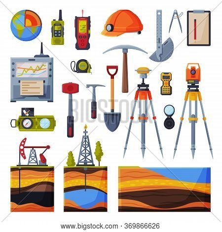 Geodesy Equipment Collection, Geodetic Engineering Or Construction Instruments And Devices Flat Styl