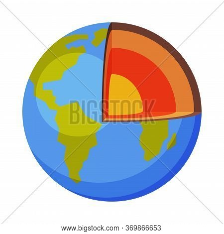 Layers Of The Earth, Structure Of The Planet, Crust, Core Flat Style Vector Illustration On White Ba