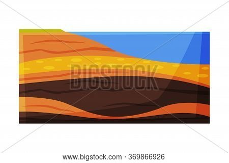 Cut Of Soil, Ground Layers Flat Style Vector Illustration On White Background