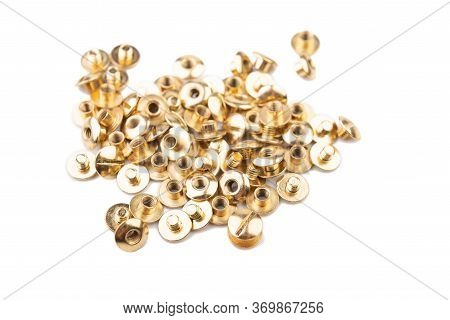 Close-up Of A Brass Screw Rivet, An Accessory For Working With Electronics, Construction, Engineerin