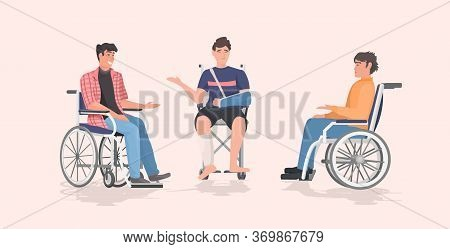 Disabled Men Sitting In Wheelchair Disability Concept Flat Full Length Horizontal Vector Illustratio