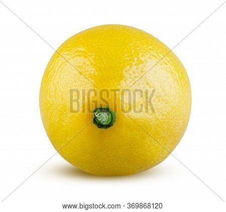 Shiny Beautiful Lemon. Detailed Lemon Closeup. Whole Lemon Isolated. Tasty Citrus On White Backgroun