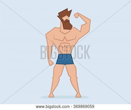 Hipster Strongman Beard Man. Muscular Athlete Vector Illustration.