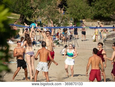 Split Croatia, May 2020 A Group Of International Students From All Over The World Playing Sand Volle