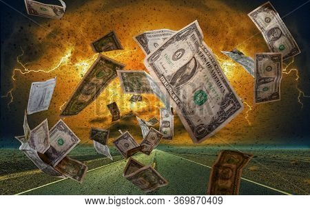 A Storm Of Banknotes Symolizes The Monetary System
