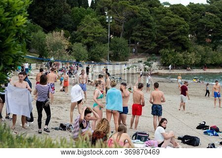 Split,croatia May 2020 A Group Of International Students From All Over The World Playing Sand Volley