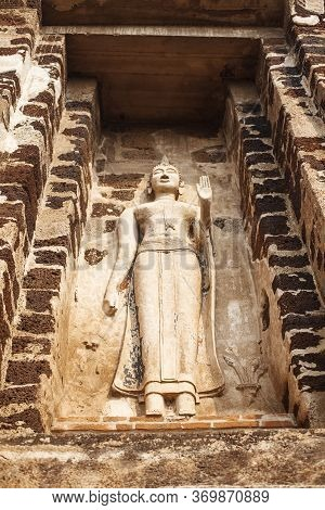 Ancient Buddah Statue From Yellow Stone In Ayutthaya