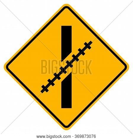 Warning Signs Railway Level Crossing At An Oblique Angle On White Background