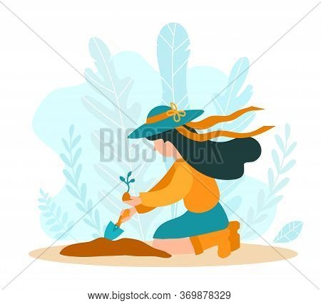 Girl Gardener Plants A Plant In The Style Of A Flat. Fashionable Illustration For Articles, Horticul