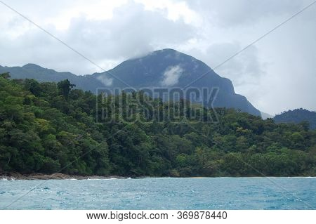 Mountain Rock Formation With Trees And Sea Scenic Nature View At Puerto Princesa, Palawan, Philippin
