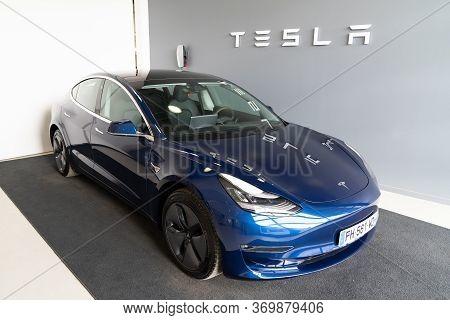 Bordeaux , Aquitaine / France - 11 07 2019 : Tesla Car Model 3 Supercharging Electric Vehicle Plugge