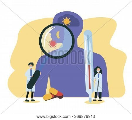 Endocrinology Vector Illustration. Tiny Hormones Diseases Persons Concept. Abstract Medicine And Bio