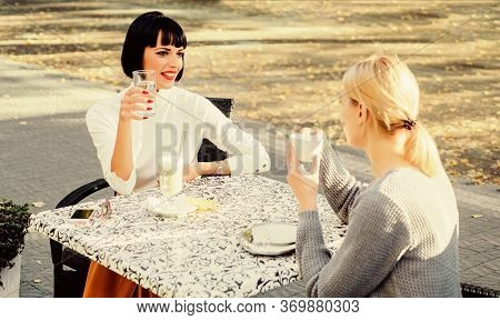 Sharing Thoughts. Female Friendship. Trustful Communication. Girls Friends Drink Coffee And Talk. Tr