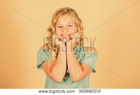 Be Positive And Keep Smiling. Small Child Long Hair Cheerful Smiling Face. Little Girl Happy Smiling