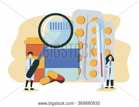 Doctor Pharmacist In Drugstore Standing Near Medicine Pills And Bottles. Medical Staff Choosing Medi