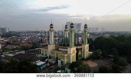 Al Barkah Mosque Largest Masjid In Bekasi, Ramadan Eid Concept Background, Travel And Tourism. With