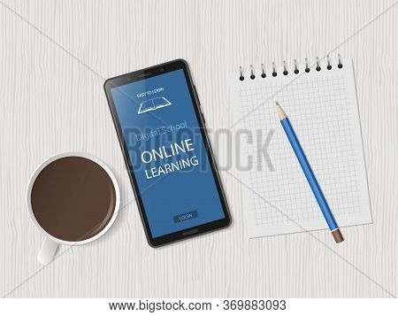 White Desk With Smartphone, Cup Of Coffee And Supplies. Online Learning Website Page On Phone Screen