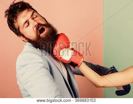 Bearded Man Hipster Defeated By Woman. Businessman Failed. Knockout Punching. Who Is Right. Strength