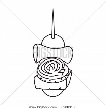 Canape Of Appetizer Vector Icon.line Vector Icon Isolated On White Background Canape Of Appetizer.