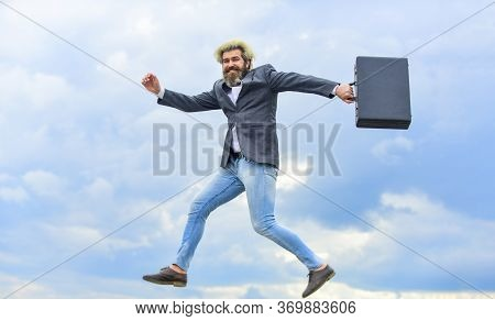 Businessman Run Away Business Case. Happy Worker. Freedom. Feeling Free. Energetic Entrepreneur. Bus