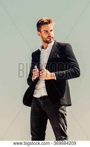 On Top Of World. Hipster With Beard. Businessman Against Blue Sky. Future Success. Male Formal Fashi
