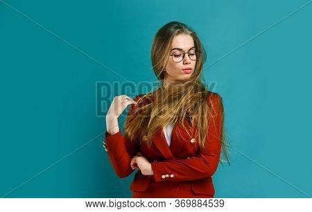 Businesswoman Or Secretary. Stylish Fashion Model. Woman In Beauty Salon. Female With Classy Look. P