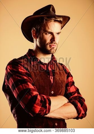 Wanted. Western Cowboy Portrait. Man Checkered Shirt On Ranch. Vintage Style Man. Wild West Retro Co