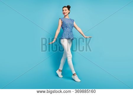 Full Body Profile Photo Of Pretty Funny Lady Good Mood Walk Down Street Summer Warm Sunny Day Wear D