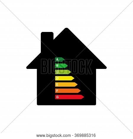 Energy Efficiency Rating. Vector Isolated Element. Smart Eco House Improvement. Technology Symbol. E