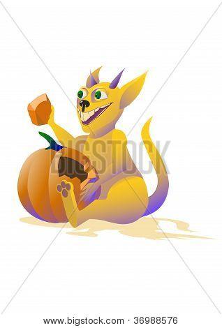 monster eats pumpkin