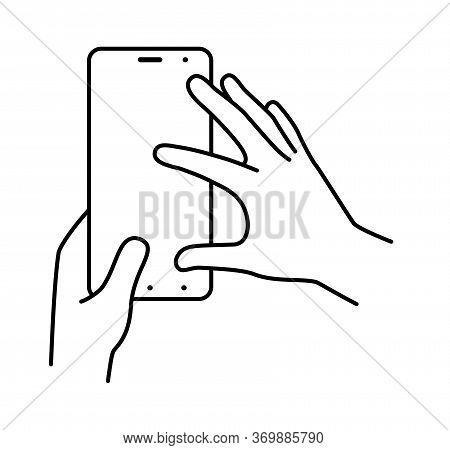 Hands Hold Smartphone Vertically, Finger Touching The Screen. Illustration On A White Background. Ve