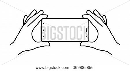 Hands Holding Smartphone On A White Background, Vector Illustration.