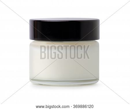 Cosmetic Glass Jar With Coconut Oil On White Background Isolation