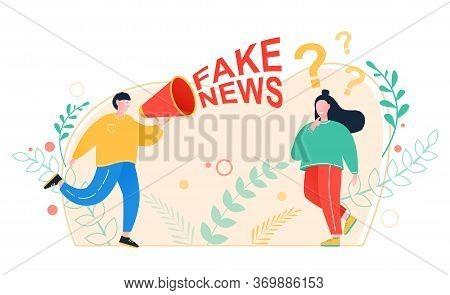 Fake News. Man With A Megaphone Tells Fake News And Propaganda. Propaganda, Breaking News, Power, So