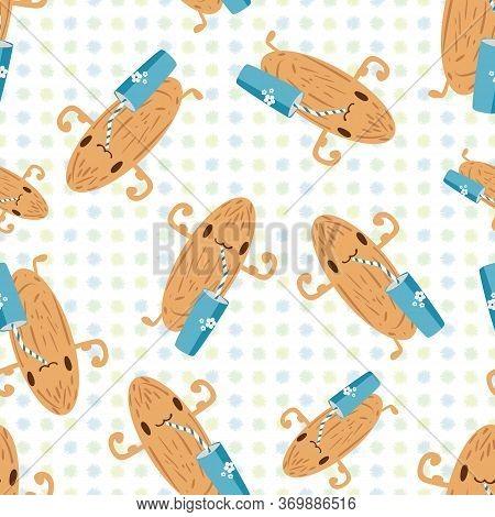 Kawaii Almond Milk Vector Seamless Pattern Background. Cute Muscle Flexing Nut Character Drinking Fr