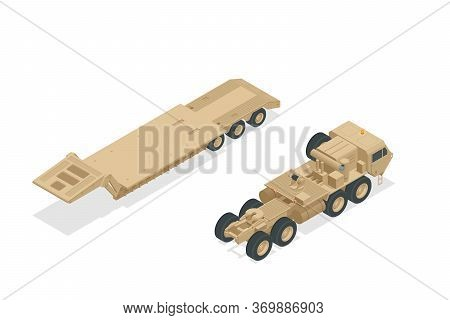 Isometric Diesel Engine-powered Military Truck Artillery Tractor And Tank Isolated On White