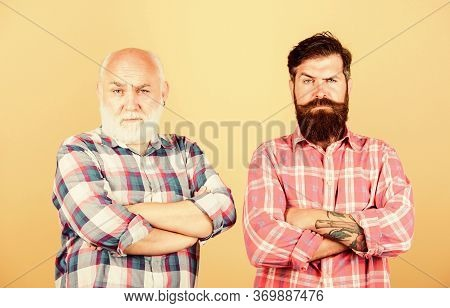 Seriousness. Male Beard Care. Checkered Fashion. Two Bearded Men Senior And Mature. Father And Son F
