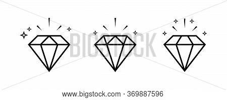 Diamond Icon. Brilliant Outline Vector Isolated Icon. Set Of Diamond Vector Icons. Royal Diamond Vec
