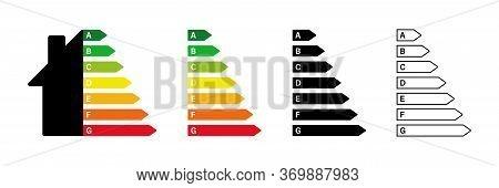 Energy Efficiency Rating. Vector Isolated Element. Smart Eco House Improvement. Technology Symbol. E
