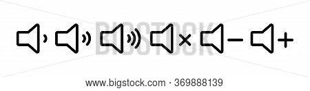 Sound Volume Set Of Icons. Vector Isolated Black Audio Icons Or Symbols. Speaker Volume Icon -audio