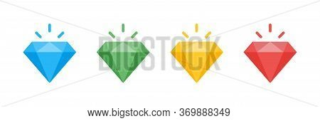 Diamond Vector Isolated Collection. Vector Gem Jewel Symbol Signs. Cartoon Diamonds Icon Colored Col