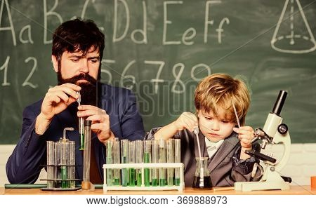 Back To School. Cognitive Skills. Teacher Child Test Tubes. Chemistry Experiment. Cognitive Process.